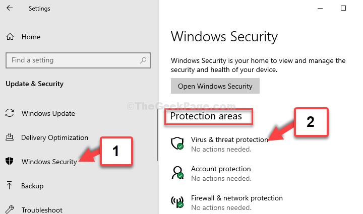 Windows Security Protection Areas Virus & Threat Protection
