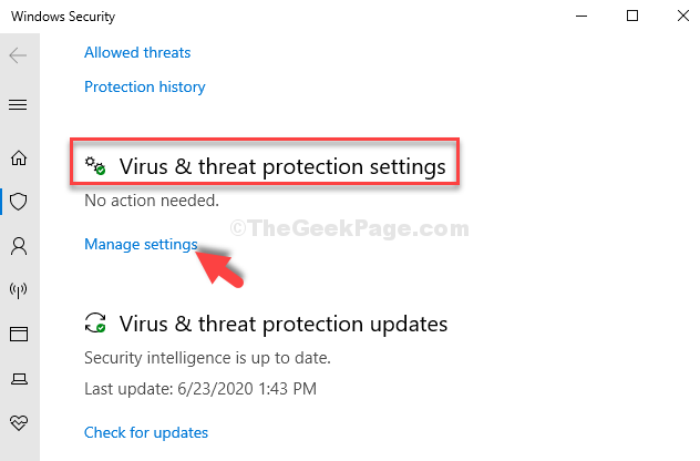 Windows Security Virus & Threat Protection Settings Manage Settings