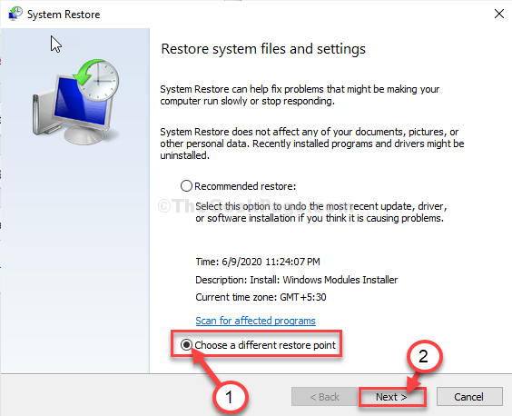 Choose A Different Restore Point