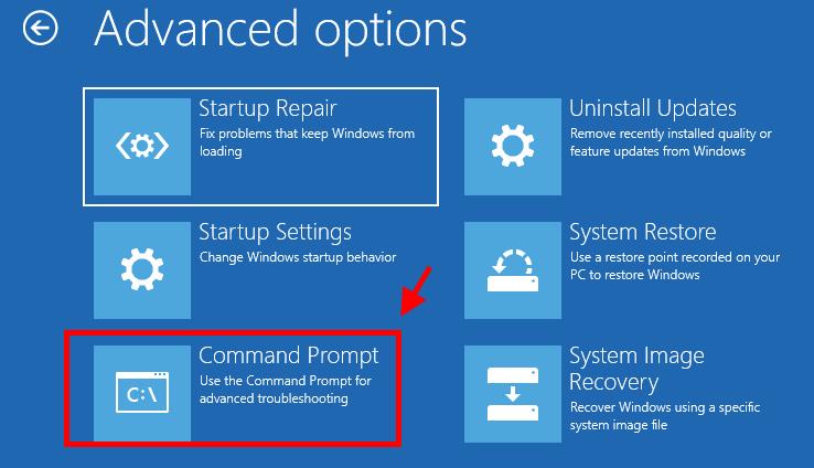 Command Prompt Advanced Options