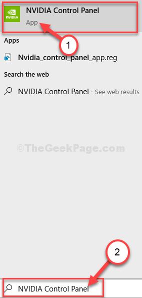 Nvidia Control Panel Search