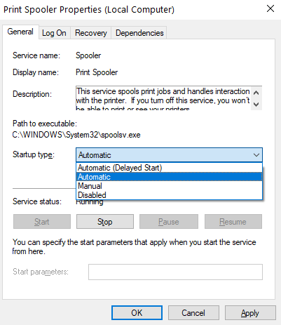 Print Spooler Automatic Service Min