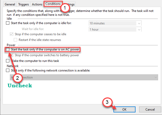 Start Uncheck Conditions Min