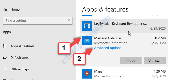 Apps & Features Mail And Calendar Advanced Options