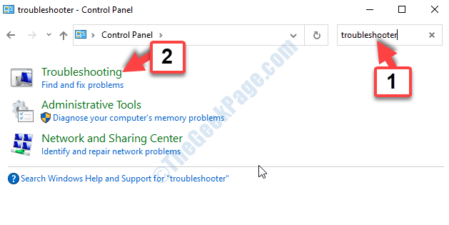 Control Panel Search Troubleshooting