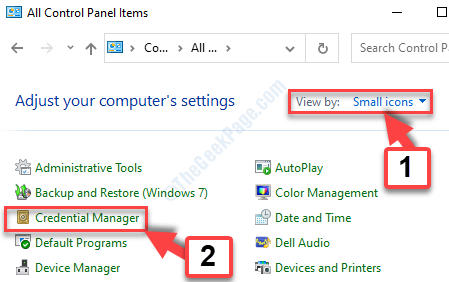 Control Panel View By Small Icons Credentials Manager