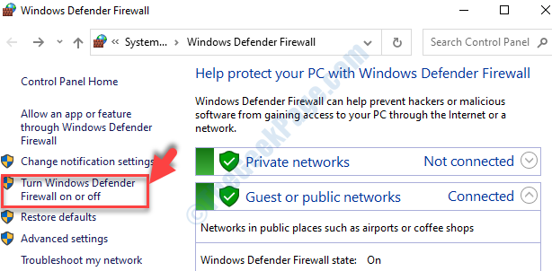 Control Panel Left Side Turn Windows Defender Firewall On Or Off