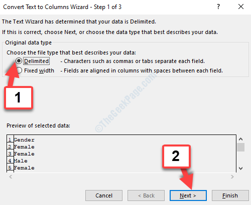 Convert Text To Columns Wizard Delimited Next