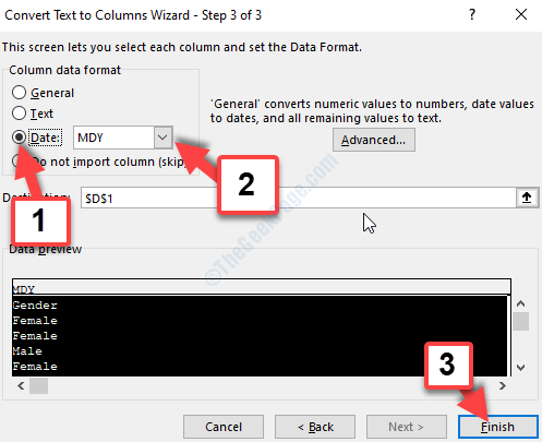 Convert Text To Columns Wizard Step 3 Date Mdy Finish