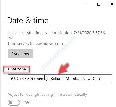 Date & Time Scroll Down Time Zone Set Manually