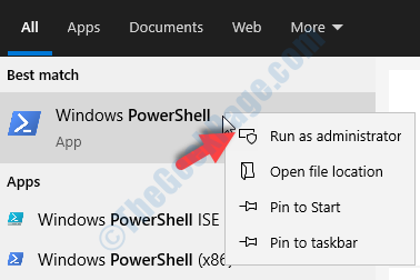Desktop Start Search Powershell Windows Powershell Right Click Run As Administrator