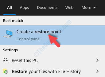 Desktop Start Search Restore Create A Restore Point