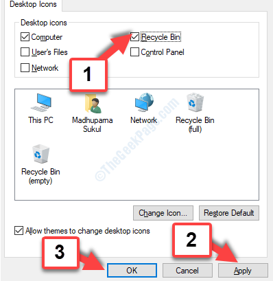 Desktop Icon Settings Recycle Bin Check Apply Ok