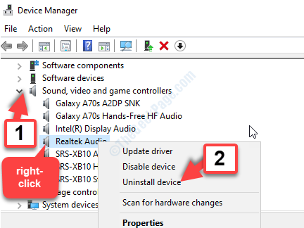 Device Manager Sound, Video And Game Controllers Realtek Audio Right Click Uninstall