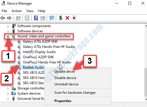 Device Manager Sound, Video And Game Controllers Realtek Audio Right Click Update Driver
