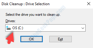 Disk Cleanup Pop Up Select Drive Ok