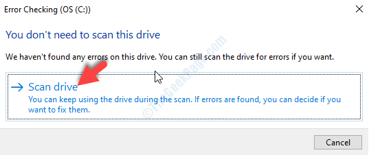 Error Chcecking Prompt Scan Drive