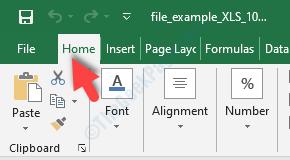 Excel File Ctrl + A Home Tab