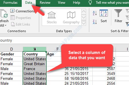 Excel File Data Tab Select A Column That You Want To Parse