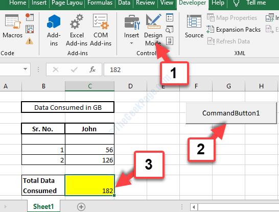 Excel Sheet Design Mode Commandbutton1 Total Auto Populates