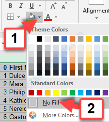 Fill Color Option Palette No Fill