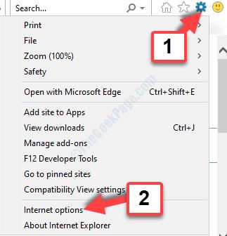Internet Explorer Gear Icon Settings Internet Options