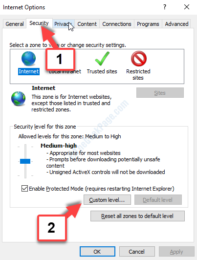 Internet Options Security Custom Level
