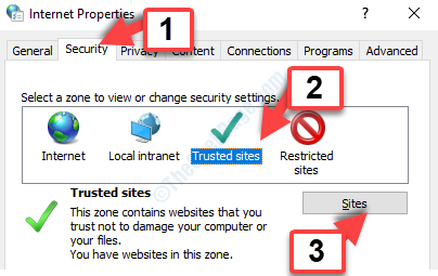Internet Options Security Tab Trusted Sites Sites