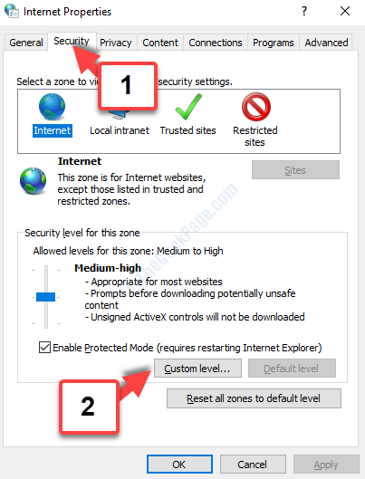 Internet Properties Security Tab Custom Level