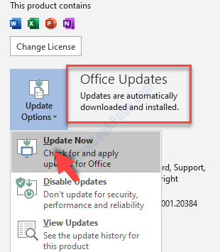 Ms Word File Tab Account Office Updates Update Now