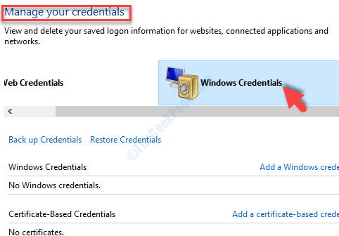 Manage Your Credentials Windows Credentials Delete All Credentials Related Office 365