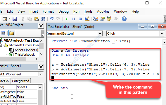 Microsoft Visual Basic For Applications Window Write Command Enter