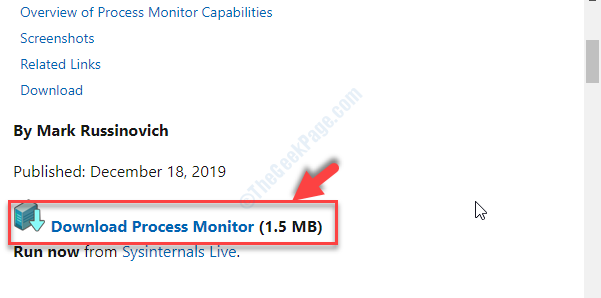 Official Microsoft Download Page Download Process Monitor