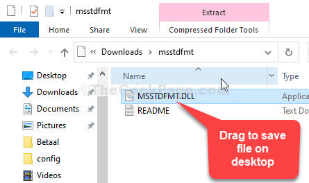 Open Zip File File Explorer Drag To Save Msstdfmt.dll File On Desktop