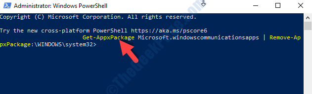 Powershell Admin Mode Execute Command To Uninstall Mail App Enter
