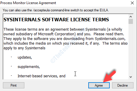 Process Monitor License Agreement Agree