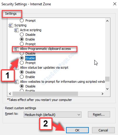 Security Settings Settings Allow Programmatic Access Enable Ok