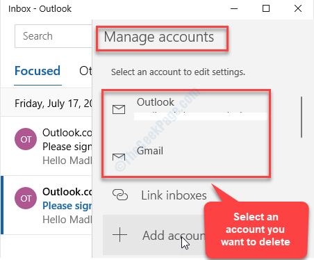 Select Manage Accounts Select An Account You Want To Delete