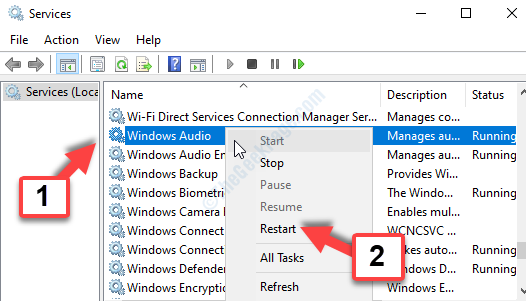 Services Name Windows Audio Right Click Restart