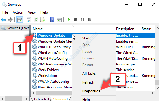 Services Name Column Windows Update Right Click Properties