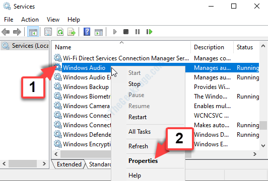 Services Right Side Name Windows Audio Properties
