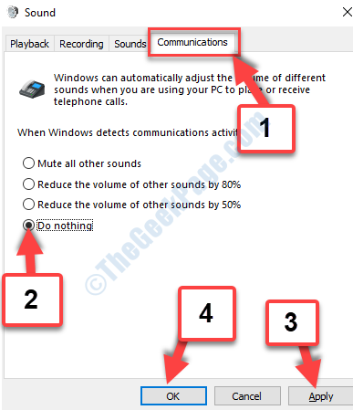 Sound Communications Tab Do Nothing Apply Ok