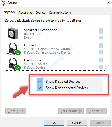 Sound Playback Tab Right Click On Empty Area Show Disabled Devices And Show Connected Devices Checked