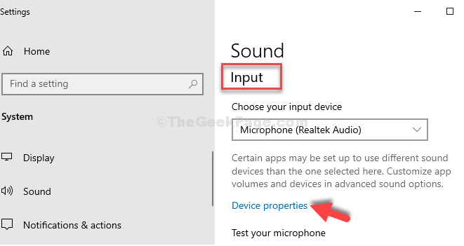 Sound Settings Input Device Properties