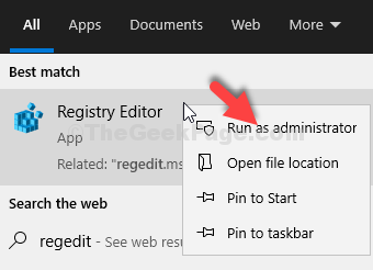 Start Search Regedit Result Right Click Run As Administrator