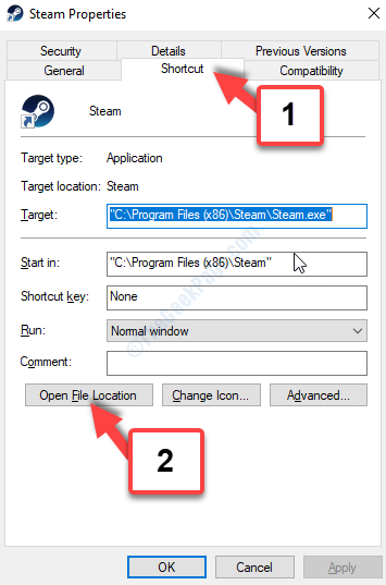 Steam Properties Shortcut Tab Open File Location