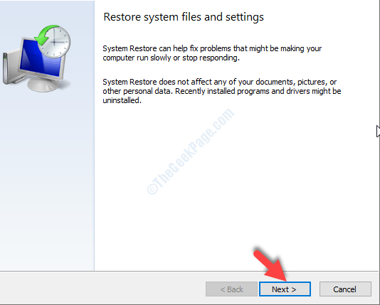 System Restore Window Next
