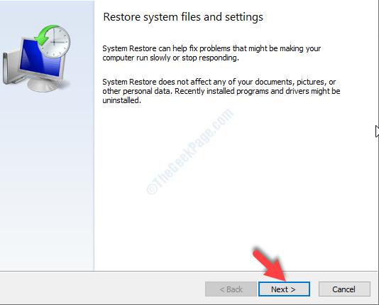 System Restore Window Next