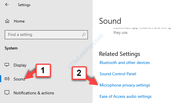 System Sound Related Settings Microphone Privacy Settings