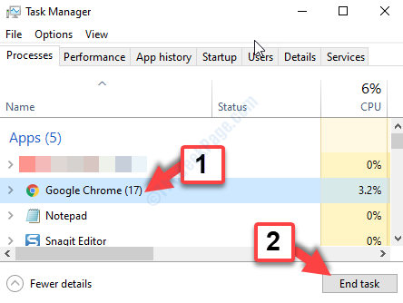 Task Manager Processes Tab Google Chrome End Task